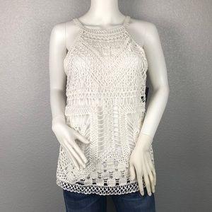 INC White Crochet Halter Tank Top Size Large
